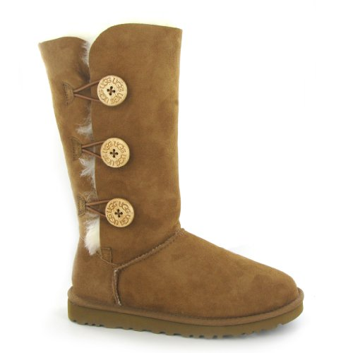 UGG Australia Bailey Button Triplet Chestnut Womens Boots Size 39 EU