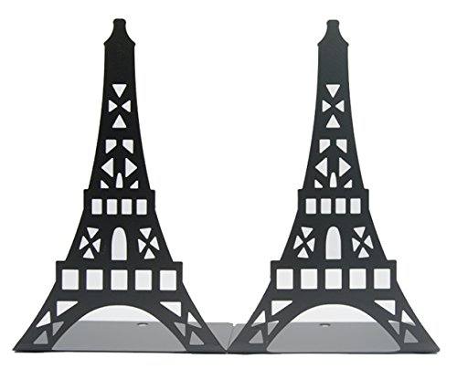 Fasmov Eiffel Tower Nonskid Bookends Art Bookend,1 Pair (black)