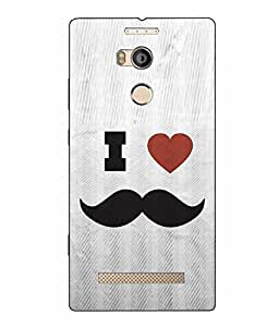 Make My Print Mustache Printed Logo Cut Grey Hard Back Cover For Gionee ELife E8