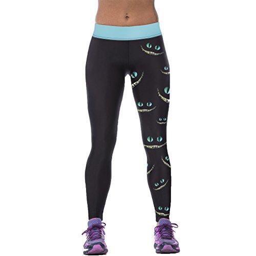 Women Awful Grin Monster Eyes Leggings Exotic Printed Workout Capri Tights