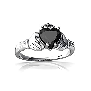 14kt White Gold Black Onyx and Diamond 6mm Heart Claddagh Ring - Size 7