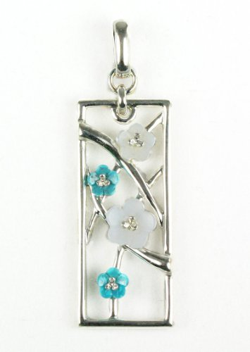 Turquoise and Bluelace Agate Flower Sterling Silver Pendant - Black Friday Deals 2012 - Cyber Monday Deal Sale