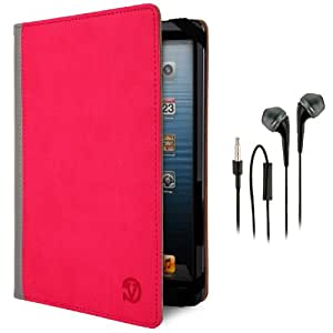 Vangoddy Pu Leather Magenta Mobile Armband + Black Hands-Free Earphones W/ Microphone