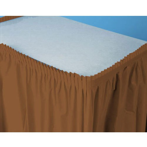 "Rectangle Pleated Chocolate Plastic Table Skirt in Solid Color Design, 14' x 29"", Brown"