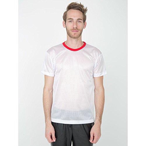 American Apparel - Maglietta a Maniche Corte in Retina - Unisex (XL) (Bianco/Rosso)