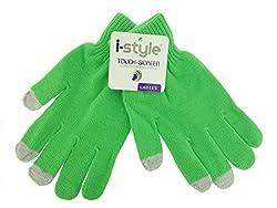 Ladies Neon Touchscreen Stretch Gloves - Grey Green