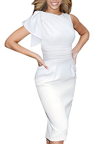 VfEmage Women's Celebrity Elegant Ruched Wear to Work Party Prom Bodycon Dress 1157 WHT M