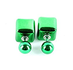Sorellaz Sorellaz Double Side Green Stud Cube Earrings