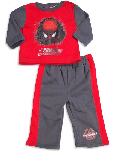 Spiderman - Baby Boys 2 Piece Spiderman Fleece Pant Set, Red, Charcoal 30165-18Months