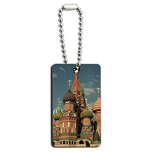 KreML St Basil's Cathedral Russland, Rot, quadratisch, aus Holz, rechteckiger Schlüsselanhänger