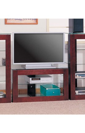 Wall Units Wood TV Stand with Glass Shelves (B0062CHVZW)