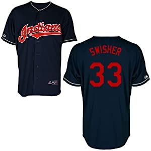 Nick Swisher Cleveland Indians Alternate Navy Replica Jersey by Majestic Select Size:...