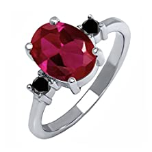 buy 2.52 Ct Oval Red Created Ruby Black Diamond 925 Sterling Silver Ring
