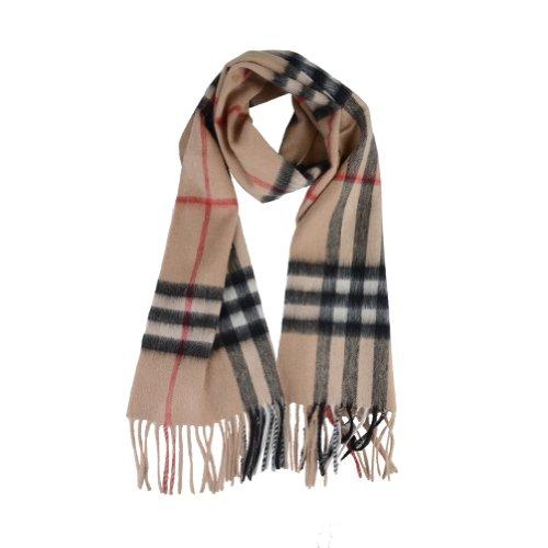 Burberry  Burberry London Beige Wool Cashmere Giant Check Fringed Scarf