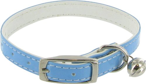 Patent Dog or Cat Collar with Bell – Blue, 3/8″ x 12″