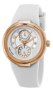 Philip Stein Women's 31-ARGW-RBW Active Rose Gold and White Rubber Strap Watch