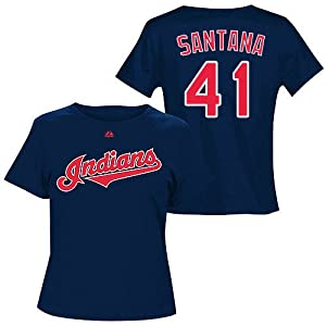Carlos Santana Cleveland Indians Navy Ladies Player T-Shirt by Majestic Select Ladies...