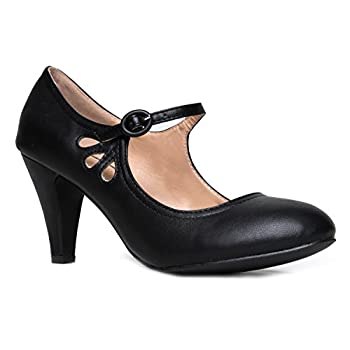 Kitten Heels Mary Jane Pumps By Zooshoo- Adorable Vintage Shoes- Unique Round Toe Design With An Adjustable Strap,Black Pu,5.5 B(M) US
