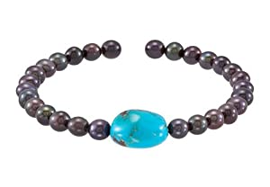 Turquoise Black Cultured Freshwater Pearl Cuff 7.5 Inch Bracelet - .925 Sterling Silver