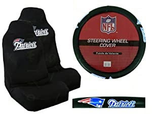 a set of 2 universal fit nfl front bucket seat covers and comfort grip steering. Black Bedroom Furniture Sets. Home Design Ideas