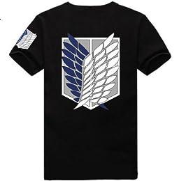 【 進撃の巨人 調査兵団風 デザイン Tシャツ 】 重ね翼の紋章 エレン・イェーガー ミカサ・アッカーマン アルミン・アルレルト コスプレ 衣装 普段着 黒 LL(XL)サイズ