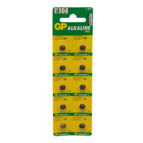 GP 192 Pack de 10 piles bouton alcalines AG3 LR41