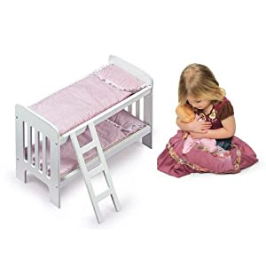 Badger Basket Doll Bunk Beds With Ladder - Pink/White