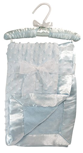 Stephan Baby Super-Soft Reversible Satin-Trimmed Velour Plush Bumpy Blanket, Blue