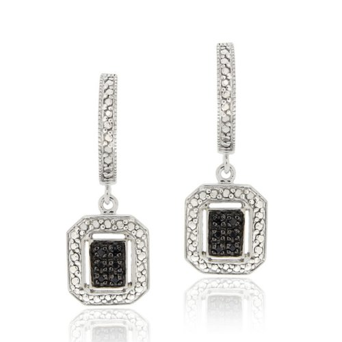 Sterling Silver 1/8ct TDW Black Diamond Rectangle Dangle Hoop Earrings