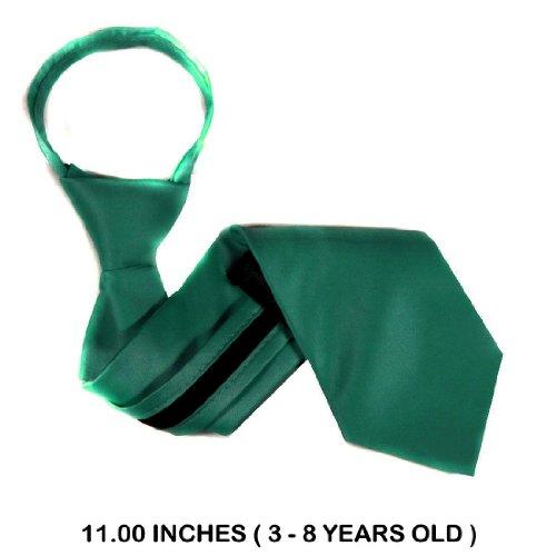 B-U-Zip-Adf-32 - Teal Green - Boys 3 - 8 Years Old Solid Zipper Tie