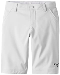 Puma Golf NA Boy's Junior Tech Shorts, White, Large