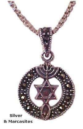 Sterling Silver Messianic Necklace  Marcasites
