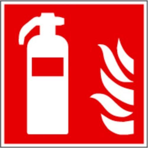 Symbol-Schild-F001-Feuerlscher-ASR-A13-und-ISO-7010-15x15-cm-Kunststoff-nachleuchtend-selbstklebend