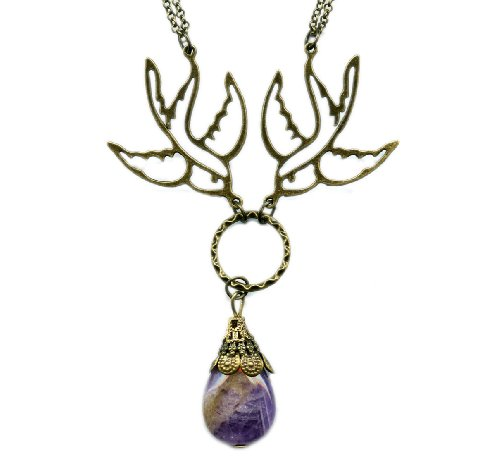 Amethyst and Brass Sparrows Antiqued Bronze Necklace 19 Inches