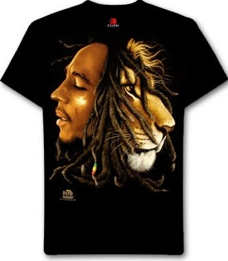 Bob Marley/Lion Large Black T-Shirt