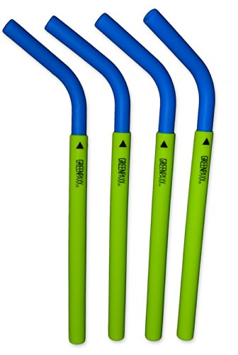 Silicone Reusable Drinking Straws 4 Pack Blue by GreenPaxx