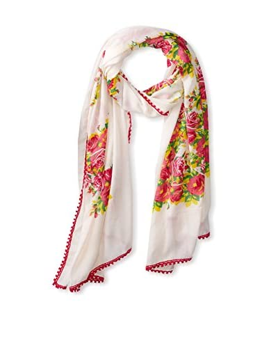 Betsey Johnson Women's Floral Scarf, Pink