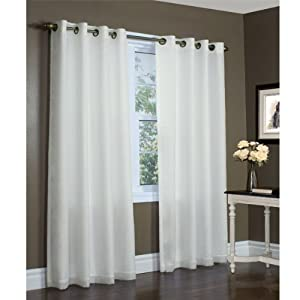 104-inch by 84-inch Ivory Thermavoile Rhapsody Semi Sheer Lined Grommet Top Curtain Panel By Commonwealth Home Fashions