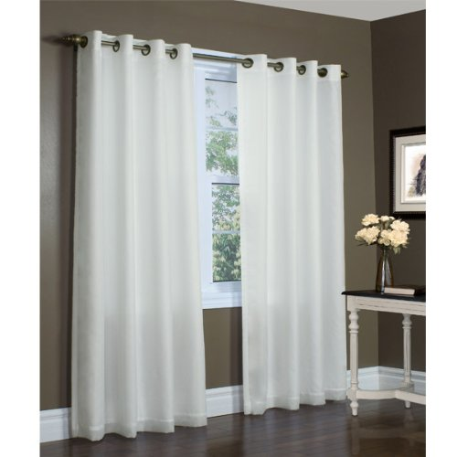 104-inch by 84-inch Ivory Thermavoile Rhapsody Semi Sheer Lined Grommet Top Curtain Panel By Commonwealth Home Fashions (Sliding Door Semi Sheer Curtains compare prices)