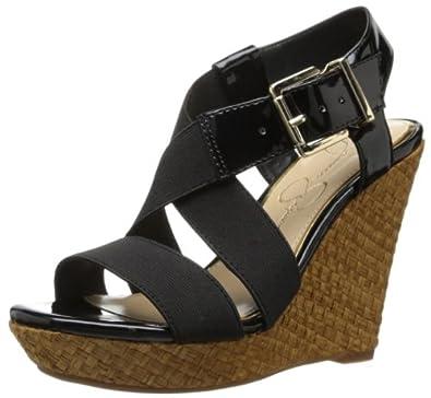 Jessica Simpson Women's Catskill Wedge Sandal,Black Elastic Patent,10 M US