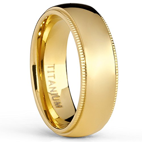 Gold Plated Titanium Wedding Band Engagement Ring, Milgrain Edges Comfort Fit, 7Mm Size 7