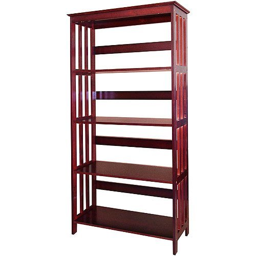 4 Tier Wooden Bookshelves / Bookcase Cherry Finish