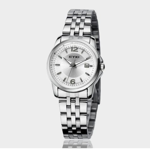 Ufingo-Nice Steel Elegant Dial Clock Calendar Watch For Women/Girls/Ladies-White
