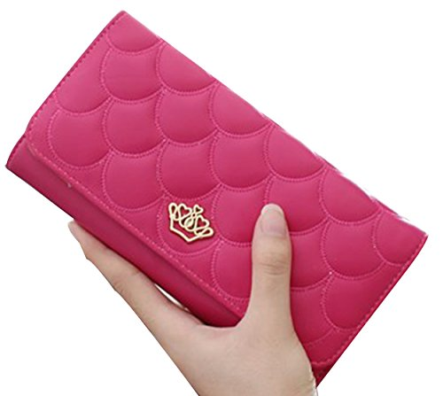 tina-womens-fashion-embossing-crown-long-patent-leather-wallet-purse-hot-pink