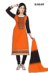 Siya Fashion Woman's Orange And Black Cotton Party Wear Unstitched Dress Material (Dress_SN02_FreeSize_Orange And Black)