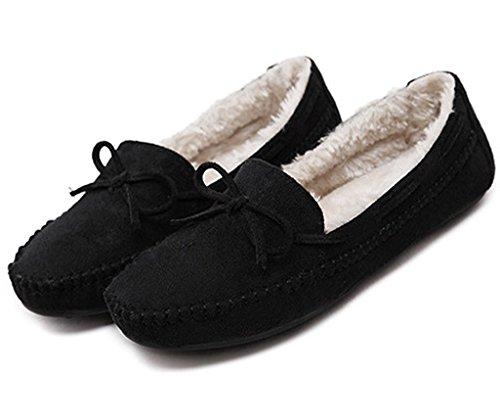 Maybest Women's Low Faux Fur Slipper Moccasin Snow Boots Flat Shoes Black 5 B (M) US (Go Go Boots Australia)