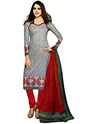 Salwar Studio Womens Cotton Unstitched Salwar Suit Dress Material (Sp-209 _Grey & Red _Free Size)