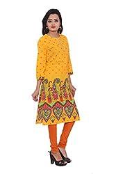 KIMYRAA Women's Cotton Kurta (KLK-1018-YELLOW-XXL)