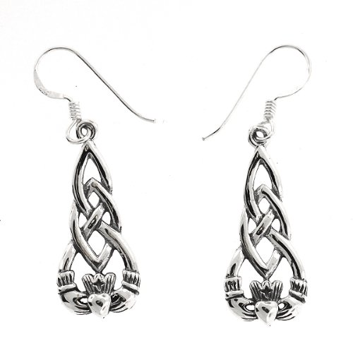 .925 Sterling Silver Nickel Free Irish Claddagh Celtic Knot French Hook Earrings