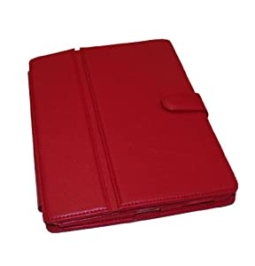 Modern-Tech Multi-Function Standard Red PU Leather Case for Apple iPad